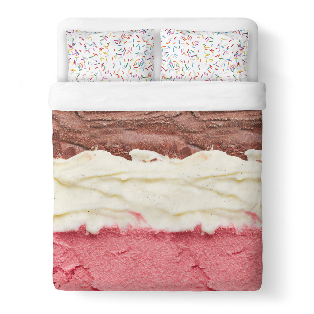 Neapolitan Sprinkles Duvet Cover-Shelfies-| All-Over-Print Everywhere - Designed to Make You Smile