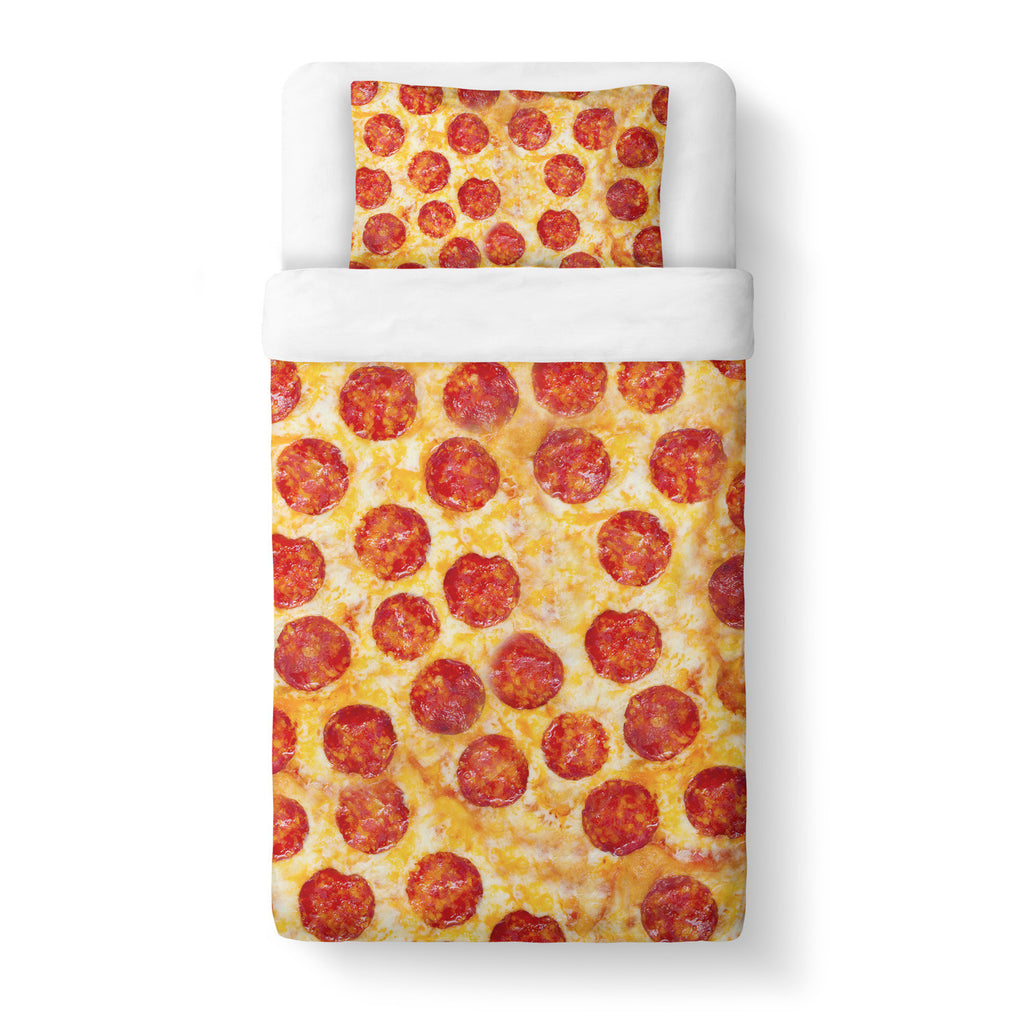 Pizza Invasion Duvet Cover Set-Shelfies-Twin + 1 Pillow Case-| All-Over-Print Everywhere - Designed to Make You Smile