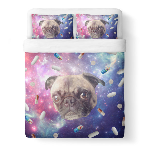 Pugs with Drugs Duvet Cover Set-Shelfies-Queen + Two Pillow Cases-| All-Over-Print Everywhere - Designed to Make You Smile
