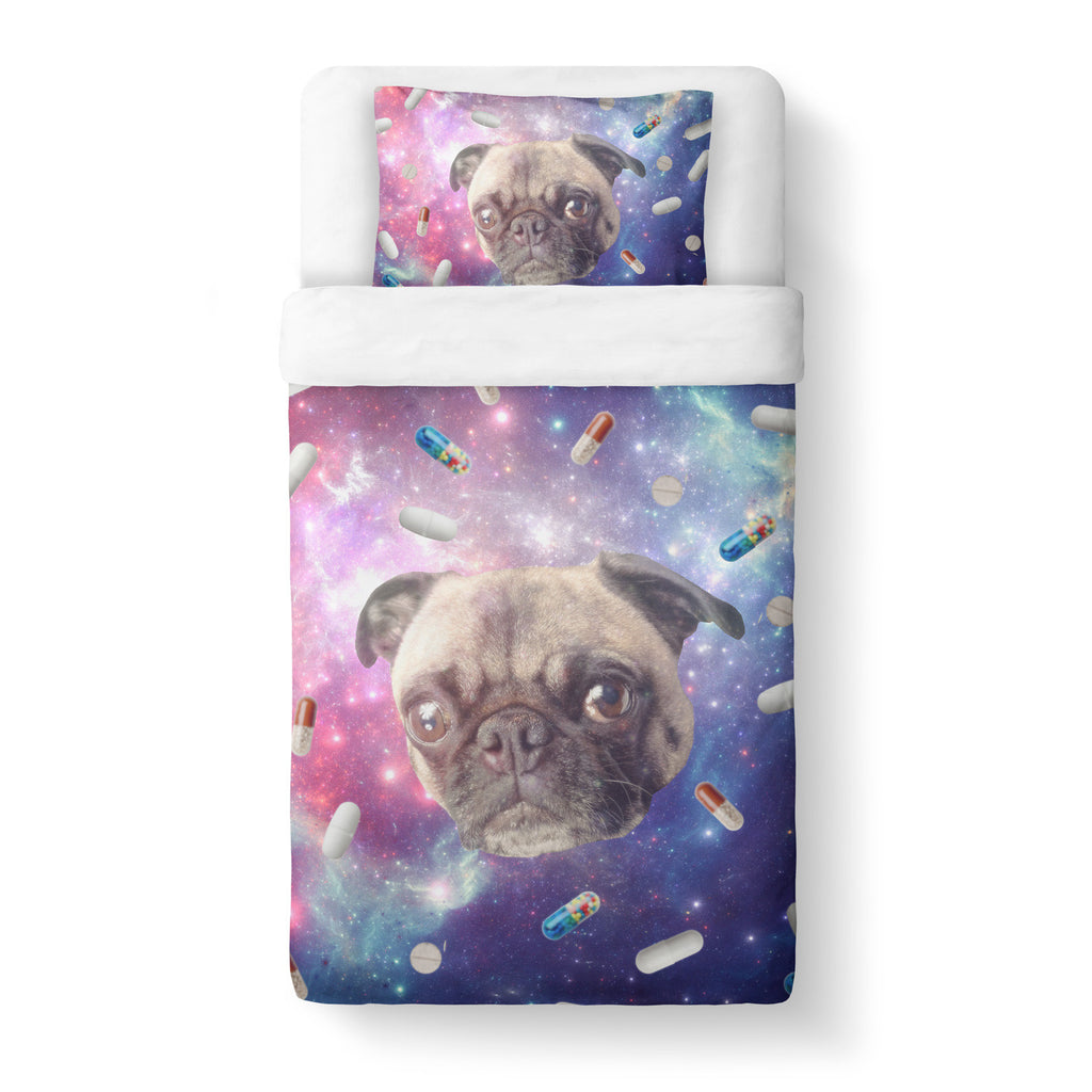Pugs with Drugs Duvet Cover Set-Shelfies-Twin + 1 Pillow Case-| All-Over-Print Everywhere - Designed to Make You Smile