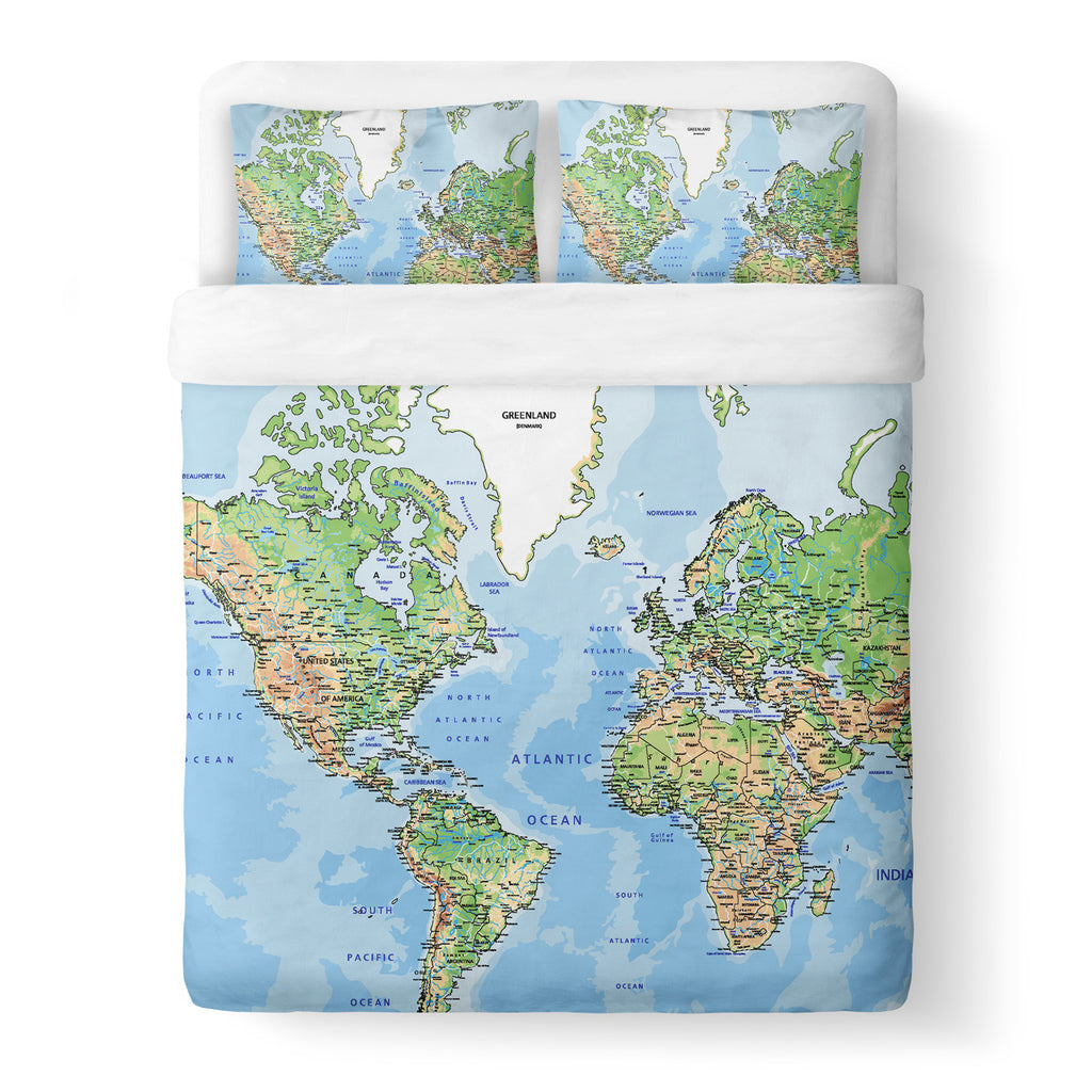 World Map Duvet Cover Set Shelfies All Over Print