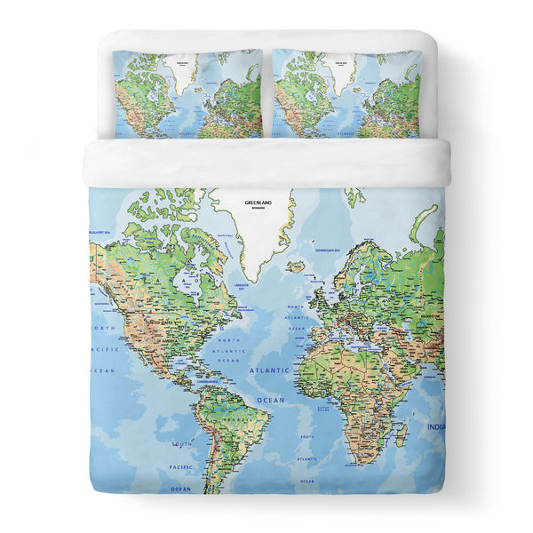 World Map Duvet Cover-Gooten-Queen-| All-Over-Print Everywhere - Designed to Make You Smile