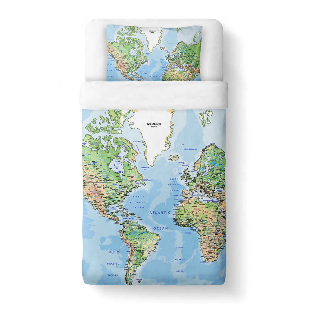 World Map Duvet Cover Set - Shelfies | All-Over-Print Everywhere - Designed to Make You Smile