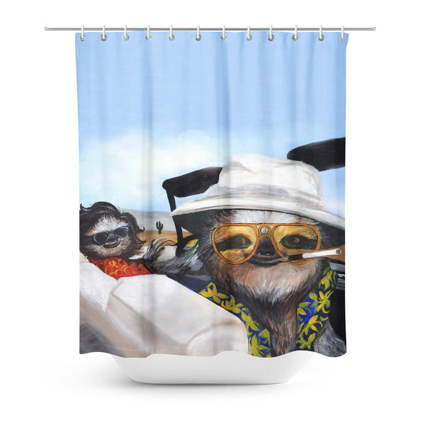 Fear and Slothin' Shower Curtain-Sharpshirter-One Size-| All-Over-Print Everywhere - Designed to Make You Smile