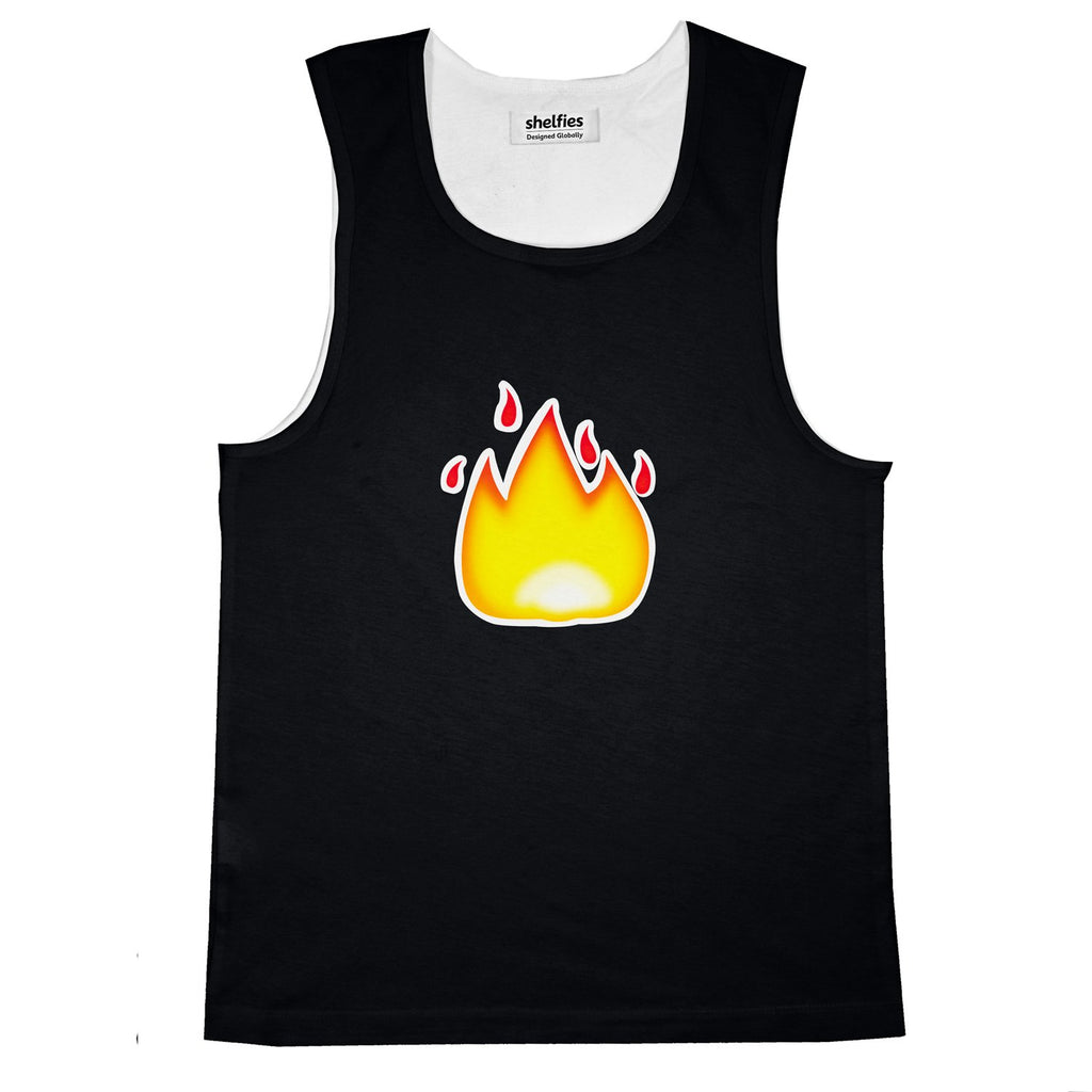 Fire Emoji Basic Tank Top-Printify-Black-S-| All-Over-Print Everywhere - Designed to Make You Smile