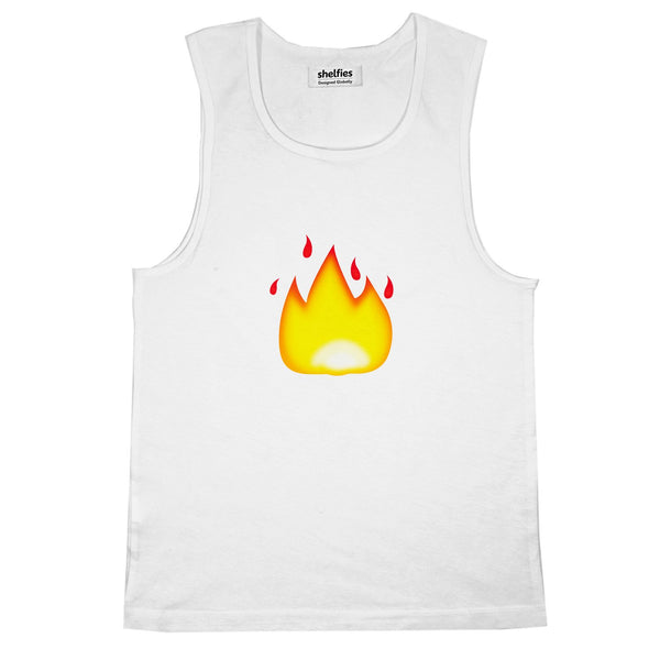 Fire Emoji Basic Tank Top-Printify-White-S-| All-Over-Print Everywhere - Designed to Make You Smile
