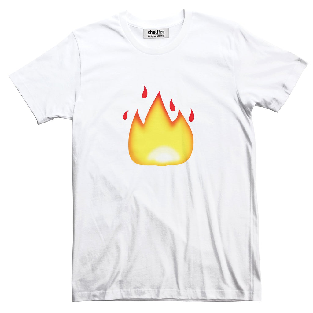 Fire Emoji Basic T-Shirt-Printify-White-S-| All-Over-Print Everywhere - Designed to Make You Smile