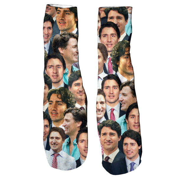 Justin Trudeau Face Foot Glove Socks-Shelfies-One Size-| All-Over-Print Everywhere - Designed to Make You Smile