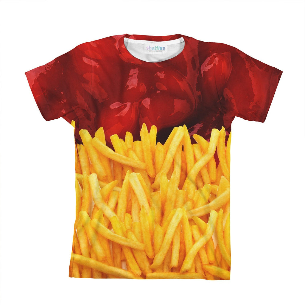 Fries N' Ketchup Youth T-Shirt-kite.ly-| All-Over-Print Everywhere - Designed to Make You Smile