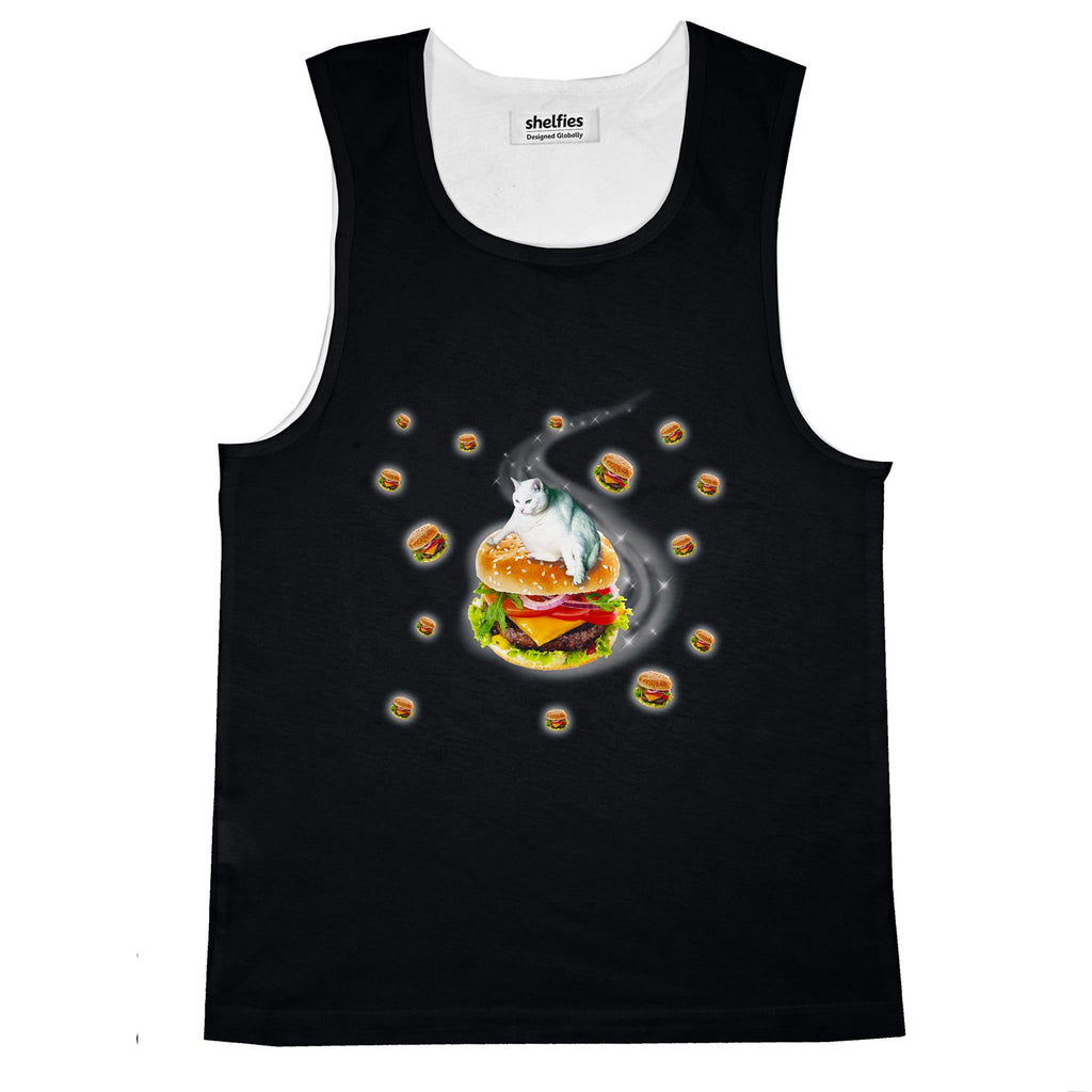 Hamburger Cat Basic Tank Top-Printify-Black-S-| All-Over-Print Everywhere - Designed to Make You Smile