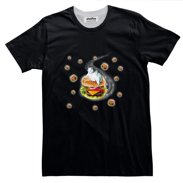 Hamburger Cat Basic T-Shirt-Printify-Black-S-| All-Over-Print Everywhere - Designed to Make You Smile