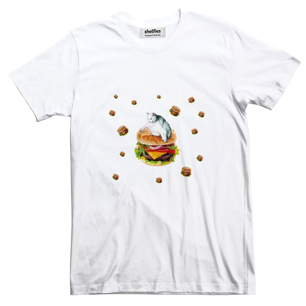 Hamburger Cat Basic T-Shirt-Printify-White-S-| All-Over-Print Everywhere - Designed to Make You Smile