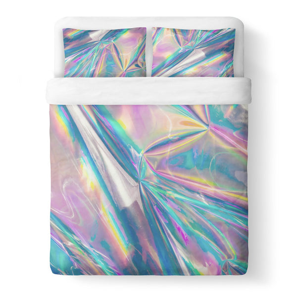 Holographic Foil Duvet Cover-Shelfies-Queen-| All-Over-Print Everywhere - Designed to Make You Smile