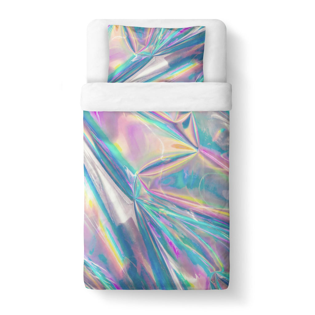 Holographic Foil Duvet Cover-Shelfies-Twin-| All-Over-Print Everywhere - Designed to Make You Smile