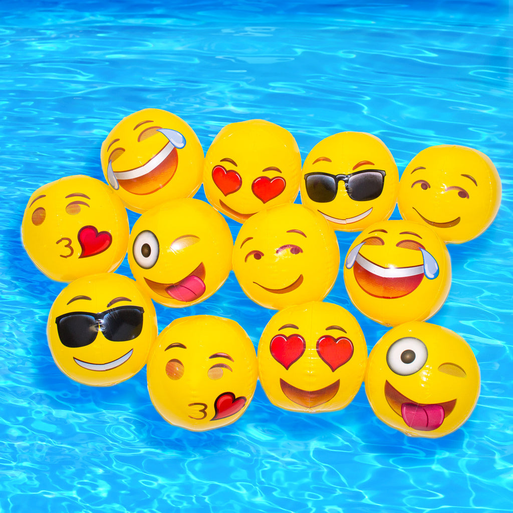 Emoji Beach Balls 12-Pack - Shelfies
