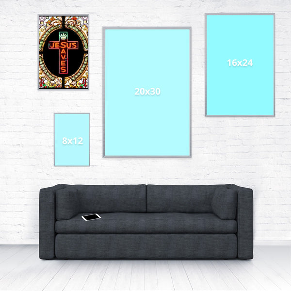 Jesus Saves Poster-Shelfies-12 x 18-| All-Over-Print Everywhere - Designed to Make You Smile