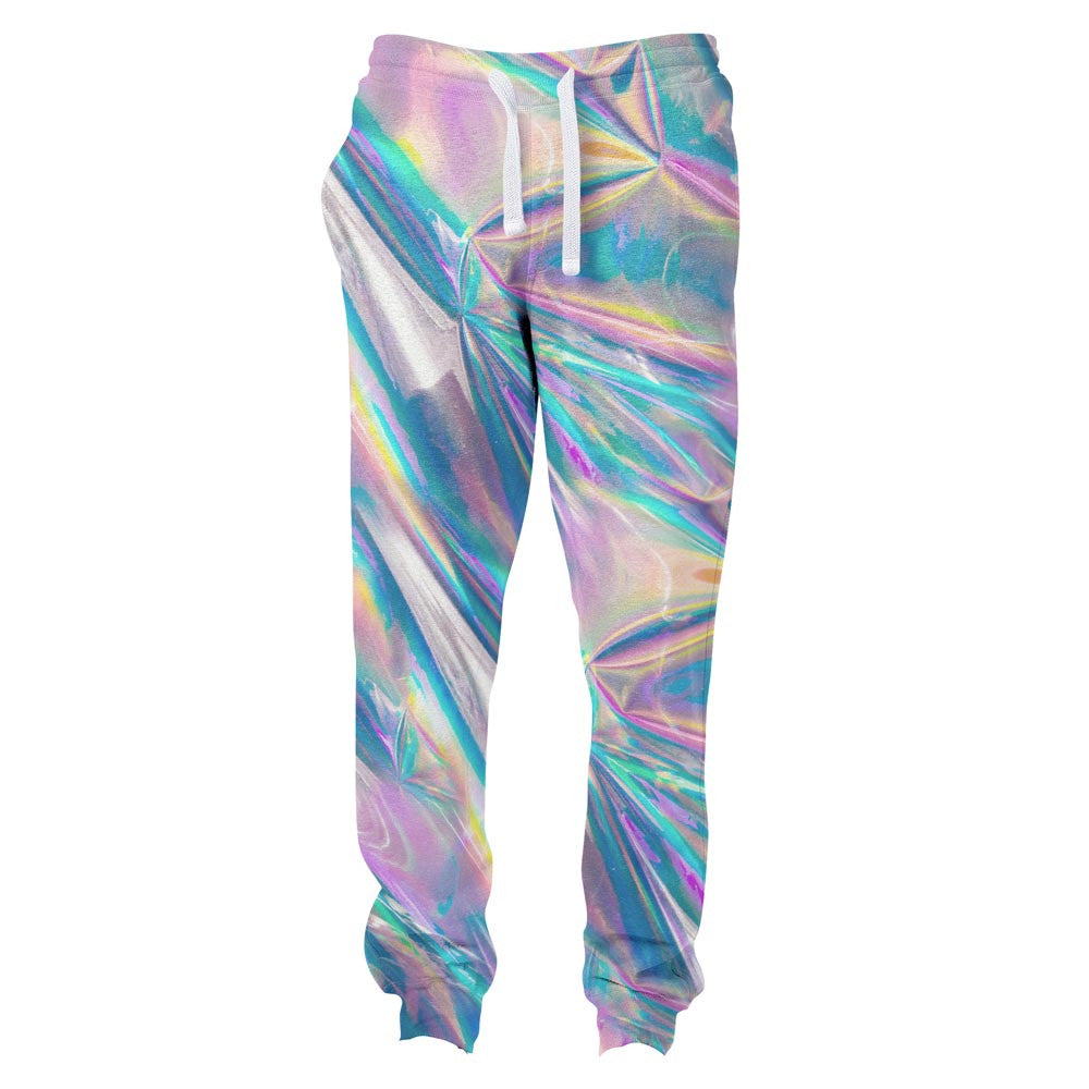 Holographic Foil Joggers-Shelfies-S-| All-Over-Print Everywhere - Designed to Make You Smile