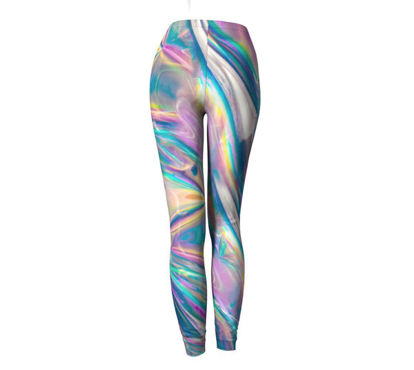 Holographic Foil Leggings-Shelfies-| All-Over-Print Everywhere - Designed to Make You Smile