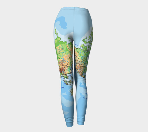 World Map Leggings-Shelfies-| All-Over-Print Everywhere - Designed to Make You Smile