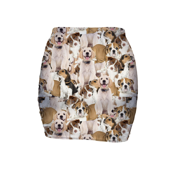Doggy Invasion Mini Skirt-Shelfies-| All-Over-Print Everywhere - Designed to Make You Smile
