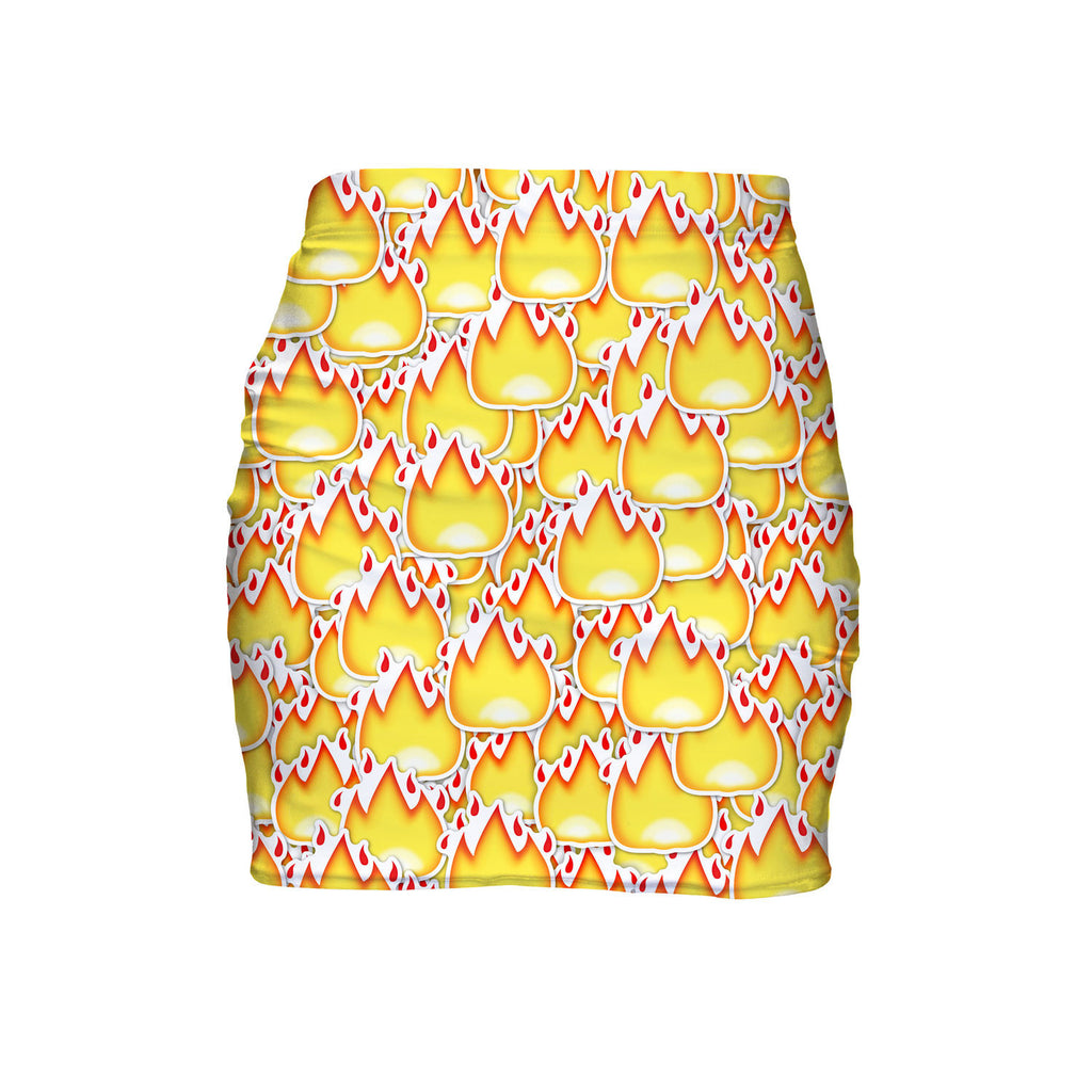 Fire Emoji Invasion Mini Skirt-Shelfies-| All-Over-Print Everywhere - Designed to Make You Smile