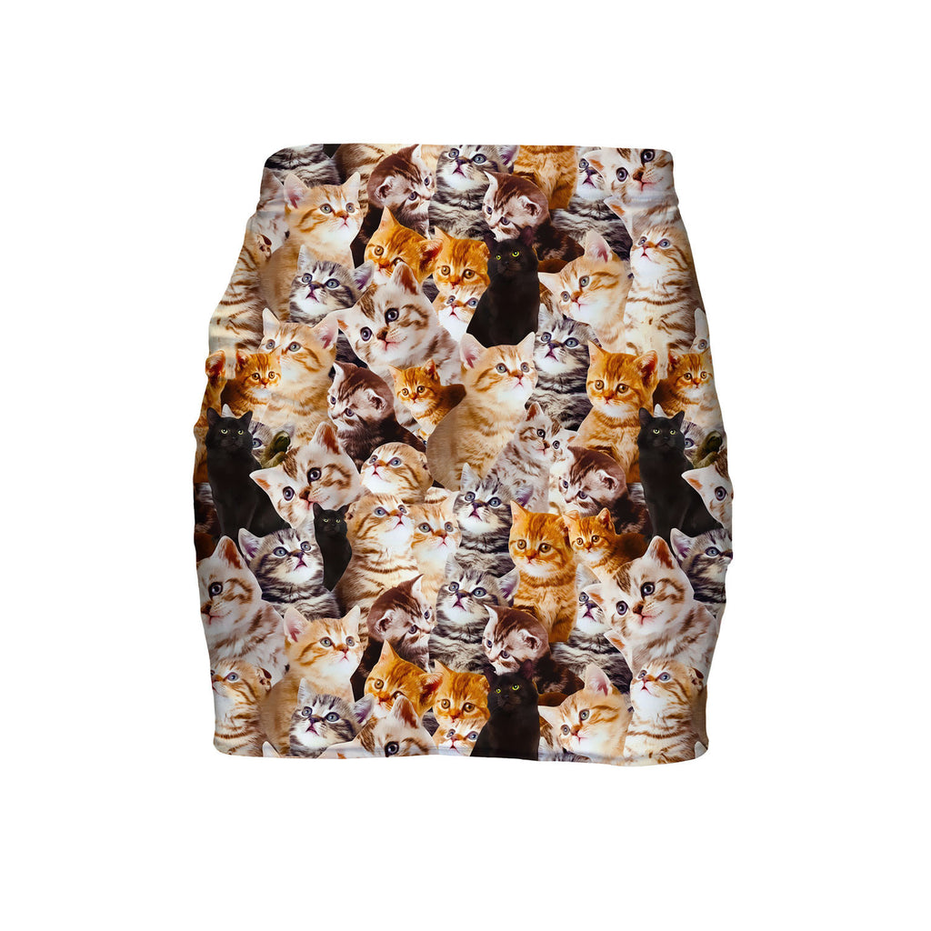Kitty Invasion Mini Skirt-Shelfies-| All-Over-Print Everywhere - Designed to Make You Smile