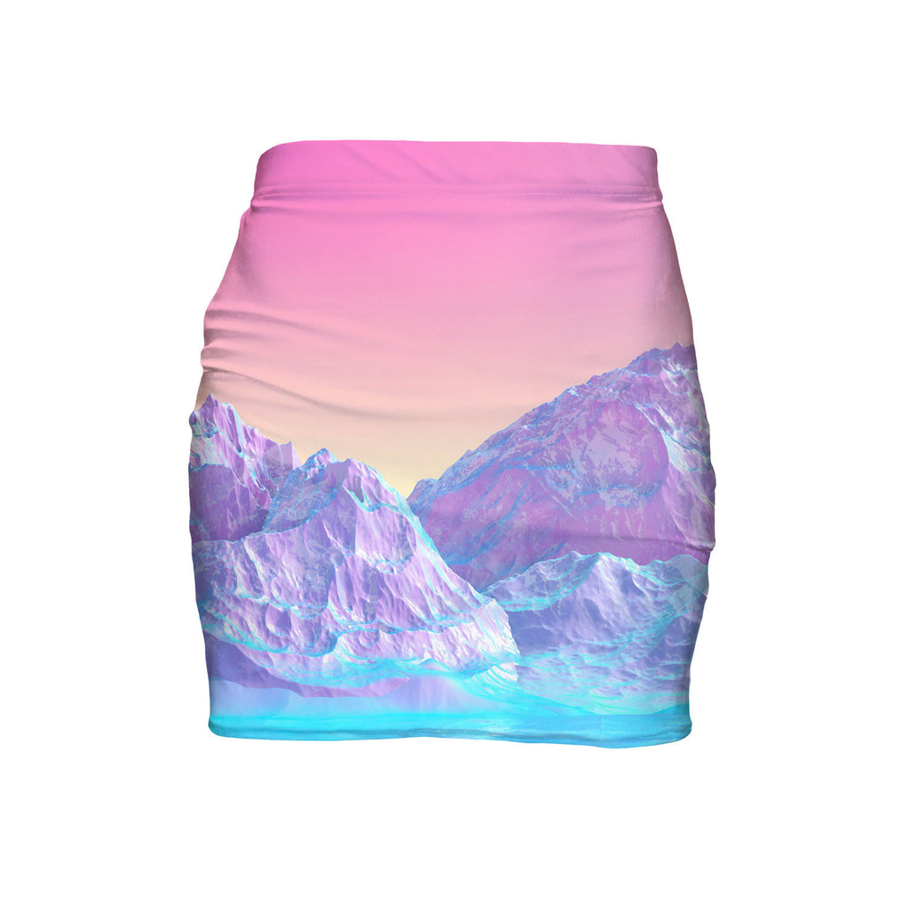 Pastel Mountains Mini Skirt-Shelfies-| All-Over-Print Everywhere - Designed to Make You Smile