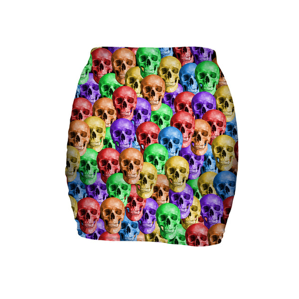 Rainbow Skulls Invasion Mini Skirt-Shelfies-| All-Over-Print Everywhere - Designed to Make You Smile