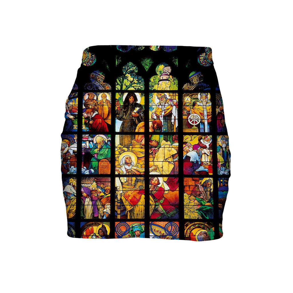 Stained Glass Mini Skirt-Shelfies-| All-Over-Print Everywhere - Designed to Make You Smile