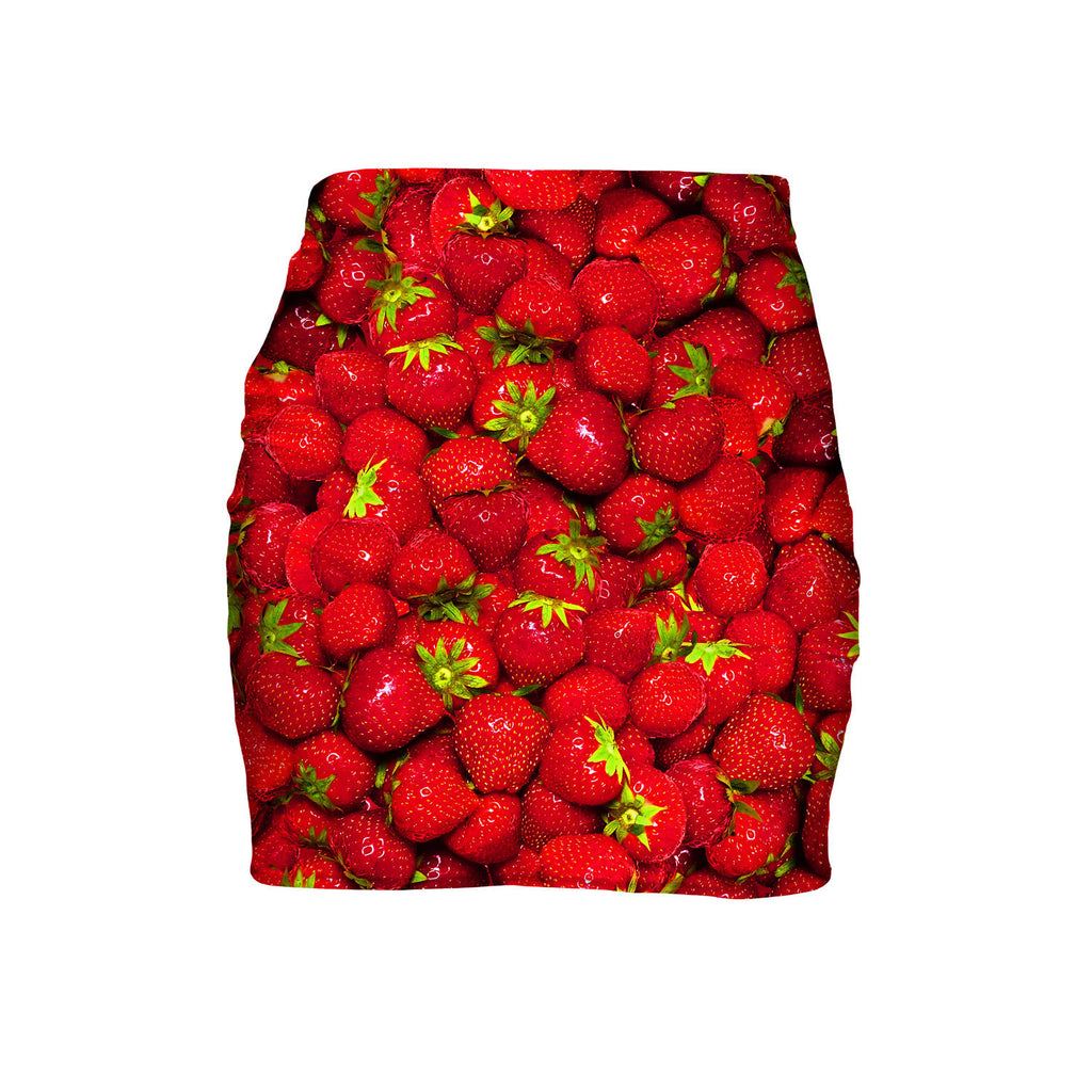 Strawberry Invasion Mini Skirt-Shelfies-| All-Over-Print Everywhere - Designed to Make You Smile