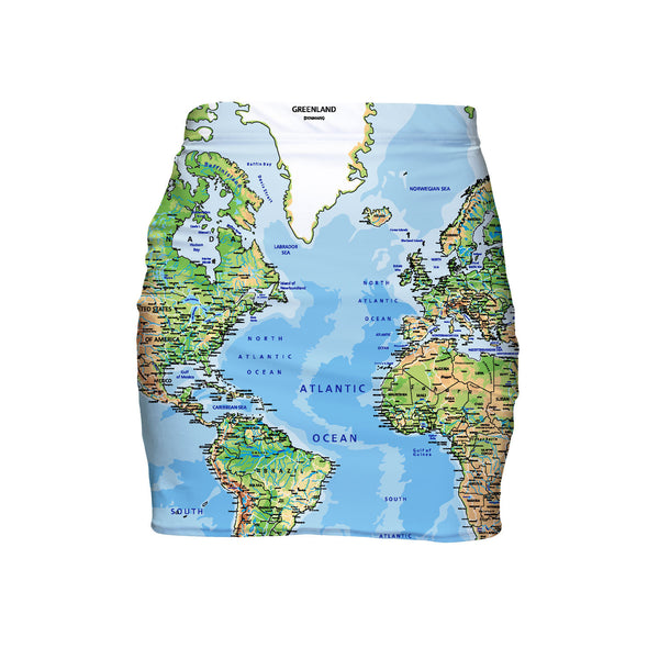 World Map Mini Skirt-Shelfies-| All-Over-Print Everywhere - Designed to Make You Smile