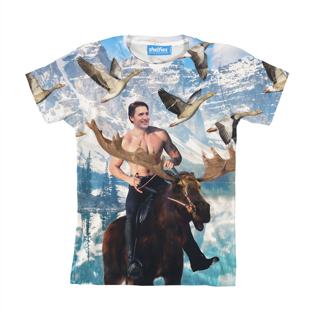 Moosin' Trudeau Youth T-Shirt-kite.ly-| All-Over-Print Everywhere - Designed to Make You Smile