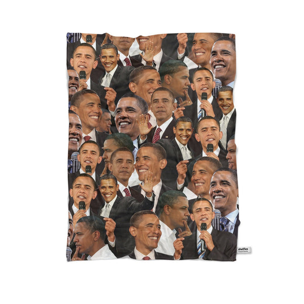 Barack Obama Face Blanket-Gooten-Cuddle-| All-Over-Print Everywhere - Designed to Make You Smile