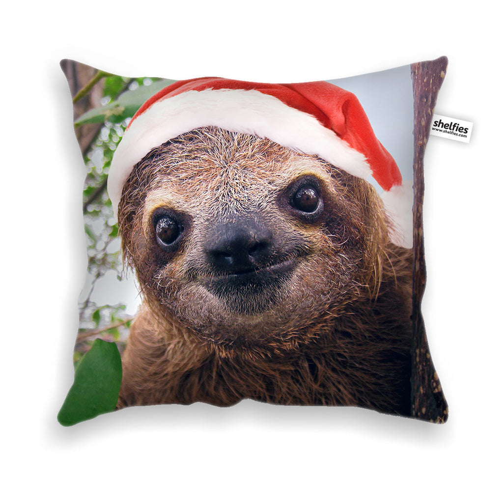 Christmas Sloth Throw Pillow Case-Shelfies-| All-Over-Print Everywhere - Designed to Make You Smile