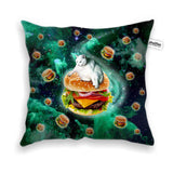 Hamburger Cat Throw Pillow Case-Shelfies-| All-Over-Print Everywhere - Designed to Make You Smile