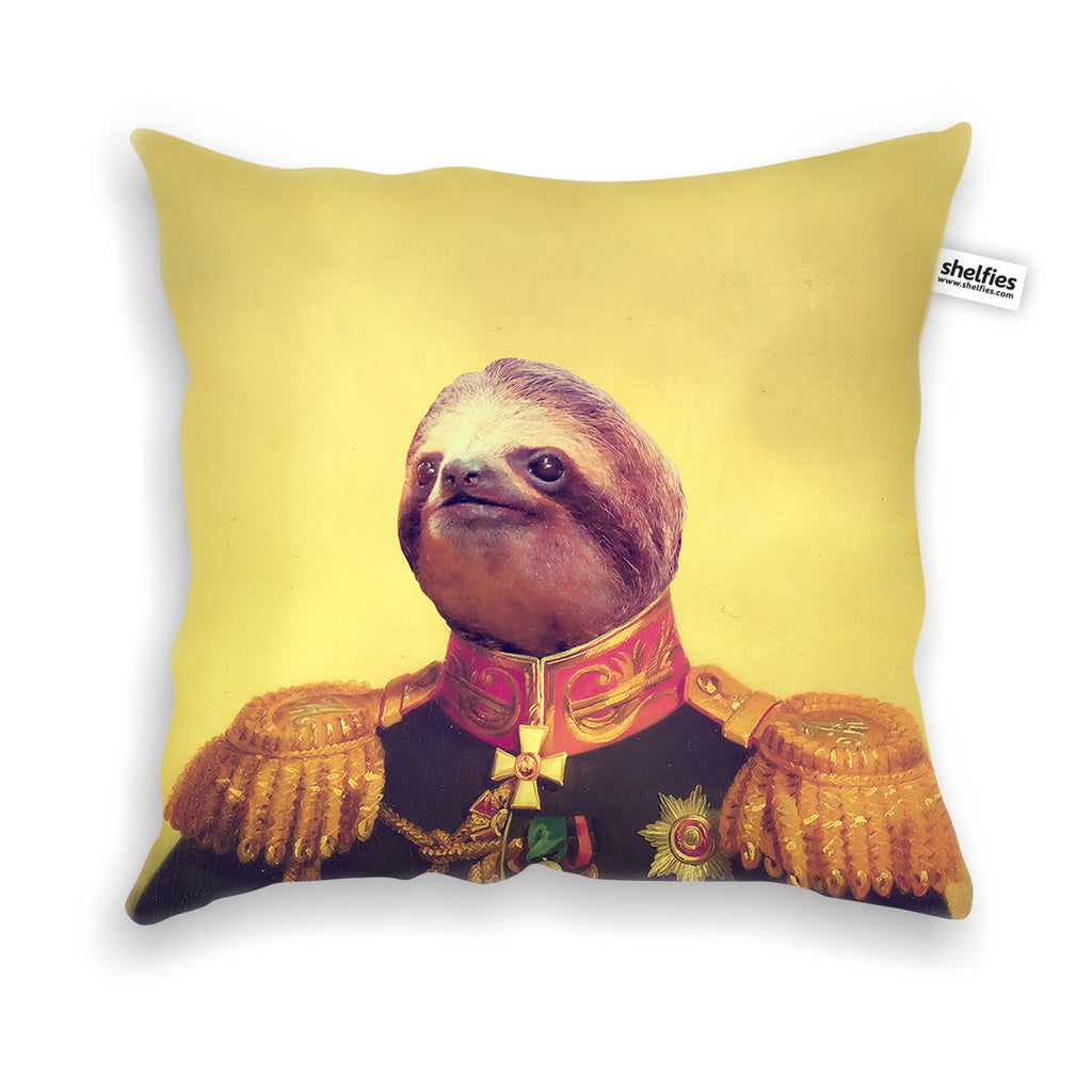 Lil' General Sloth Throw Pillow Case-Shelfies-| All-Over-Print Everywhere - Designed to Make You Smile