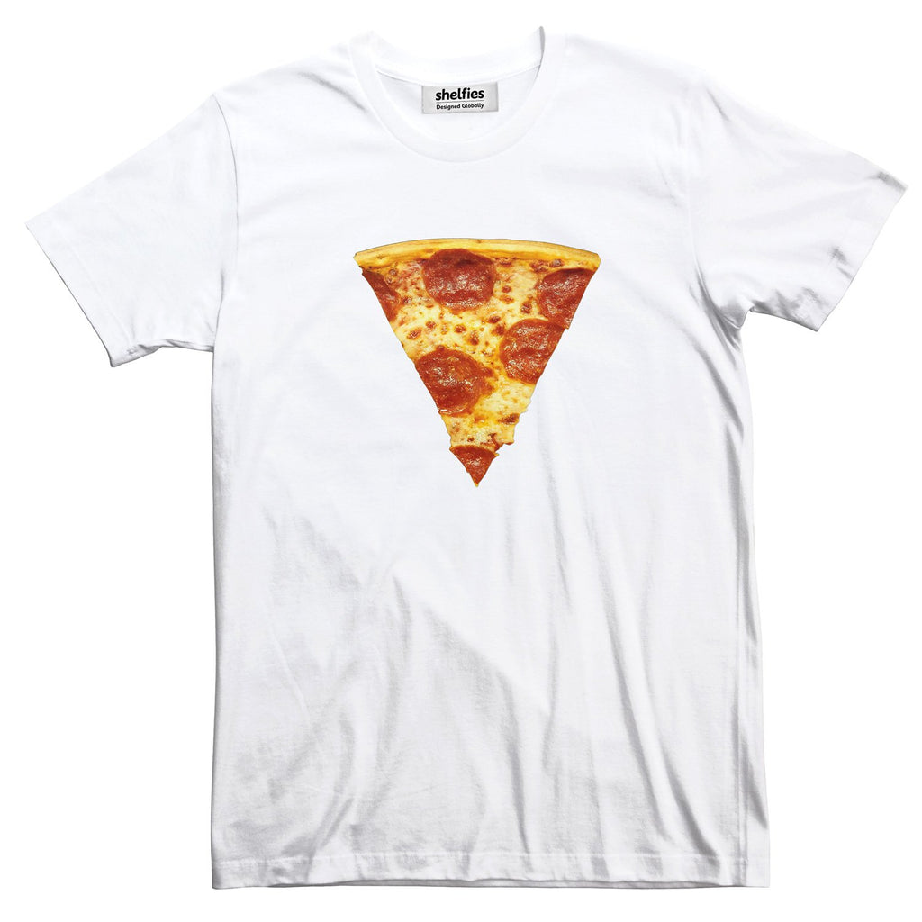 Pizza Slice Basic T-Shirt-Printify-White-S-| All-Over-Print Everywhere - Designed to Make You Smile