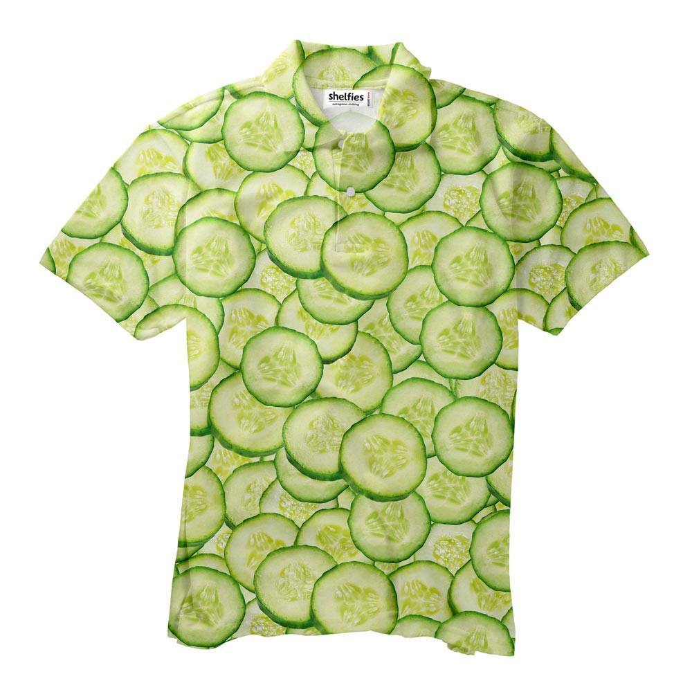 Cucumber Men's Polo Shirt - Shelfies | All-Over-Print Everywhere - Designed to Make You Smile