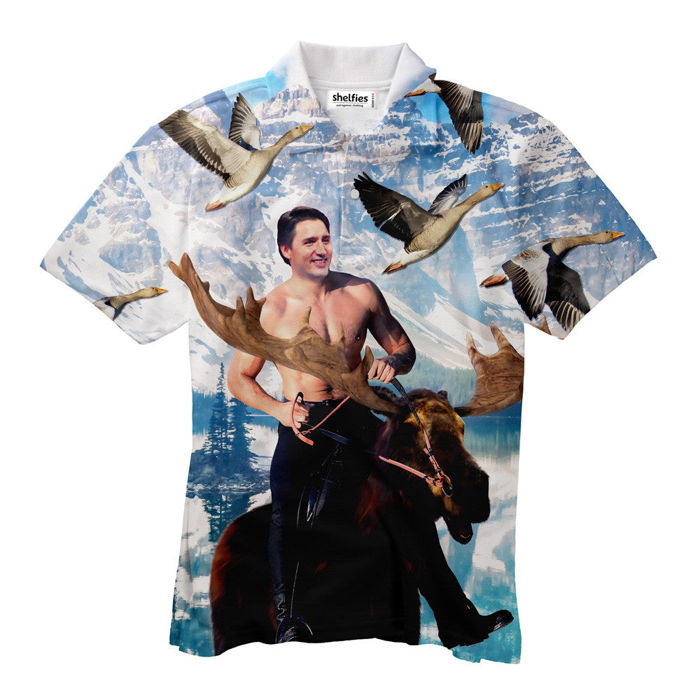 Moosin' Trudeau Men's Polo Shirt - Shelfies | All-Over-Print Everywhere - Designed to Make You Smile