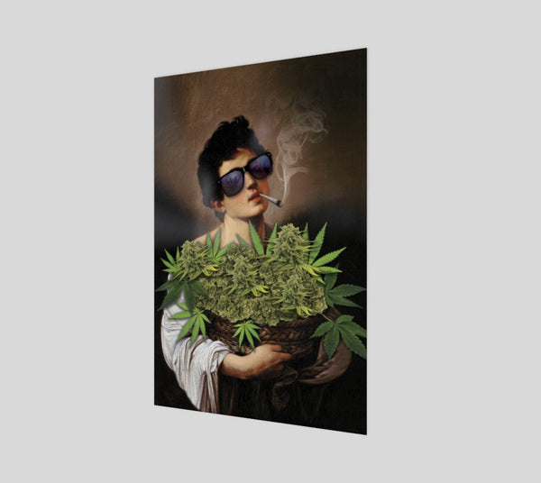 Boy With Basket of Weed Poster-Shelfies-| All-Over-Print Everywhere - Designed to Make You Smile
