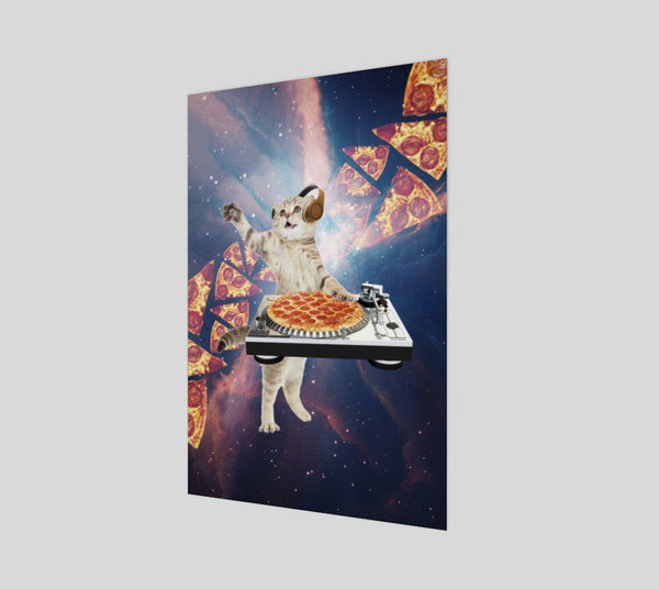 DJ Pizza Cat Poster-Shelfies-| All-Over-Print Everywhere - Designed to Make You Smile