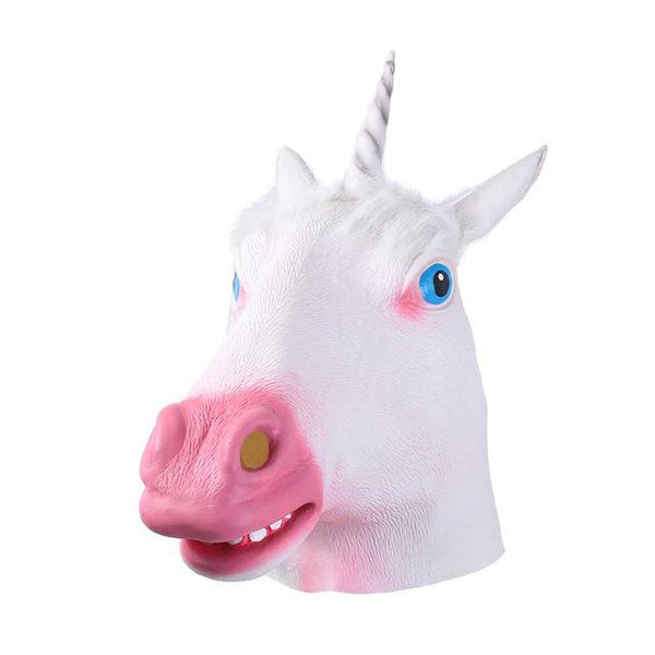 White Unicorn Head Animal Mask-Shelfies-| All-Over-Print Everywhere - Designed to Make You Smile