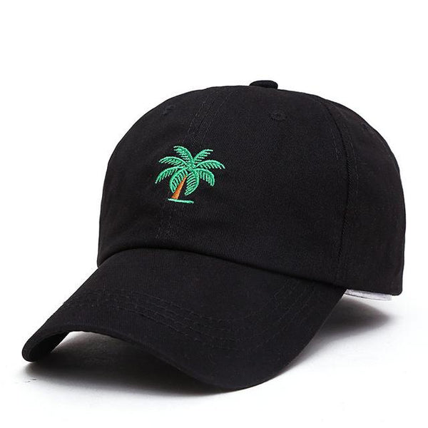 Big Palm Tree Embroidered Dad Hat-Shelfies-Black-| All-Over-Print Everywhere - Designed to Make You Smile