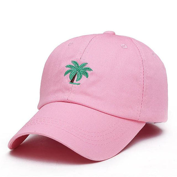 Big Palm Tree Embroidered Dad Hat-Shelfies-Pink-| All-Over-Print Everywhere - Designed to Make You Smile