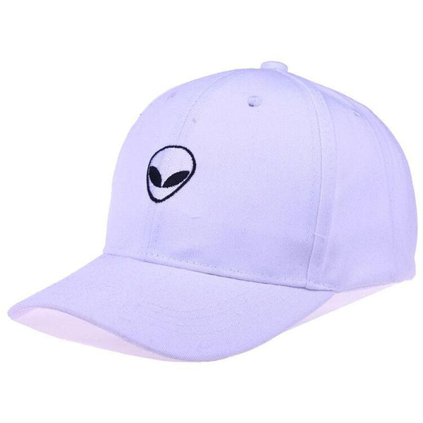 Alien Head Embroidered Dad Hat-Shelfies-White-| All-Over-Print Everywhere - Designed to Make You Smile