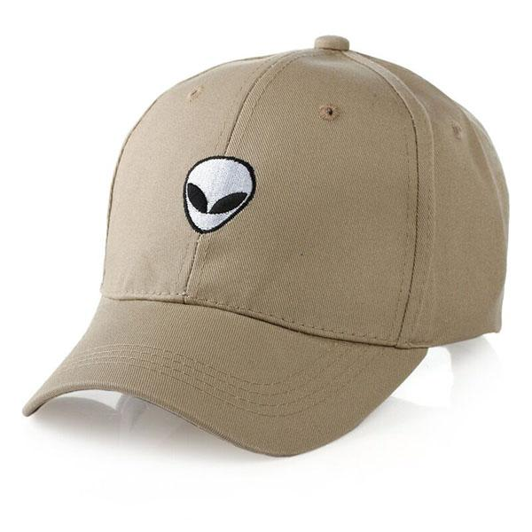 Alien Head Embroidered Dad Hat-Shelfies-Khaki-| All-Over-Print Everywhere - Designed to Make You Smile