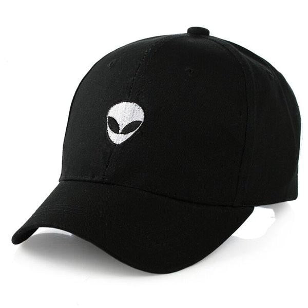 Alien Head Embroidered Dad Hat-Shelfies-Black-| All-Over-Print Everywhere - Designed to Make You Smile