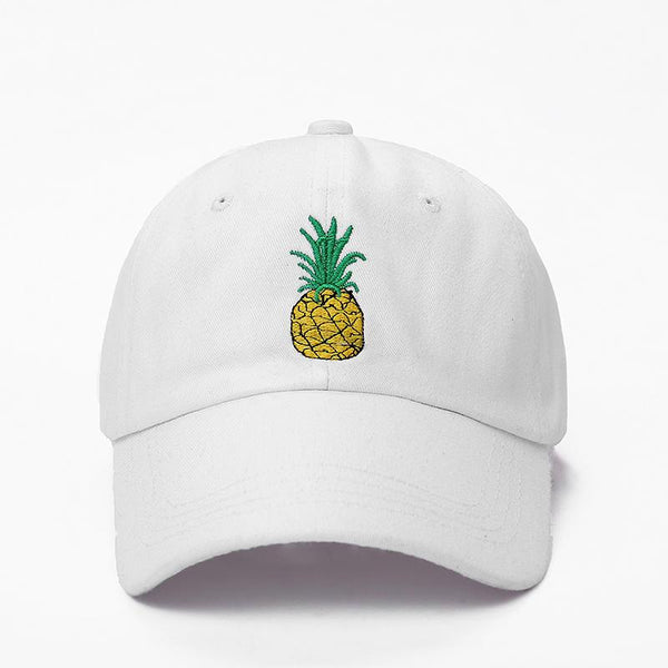 Pineapple Embroidered Dad Hat-Shelfies-White-One Size-| All-Over-Print Everywhere - Designed to Make You Smile