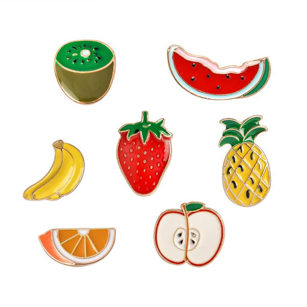 Fruit Snack Attack Brooch Pins - 7 pc set-Shelfies-| All-Over-Print Everywhere - Designed to Make You Smile