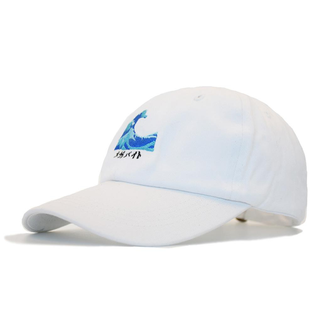 Japanese Ocean Wave Embroidered Dad Hat-Shelfies-White-Adjustable-| All-Over-Print Everywhere - Designed to Make You Smile